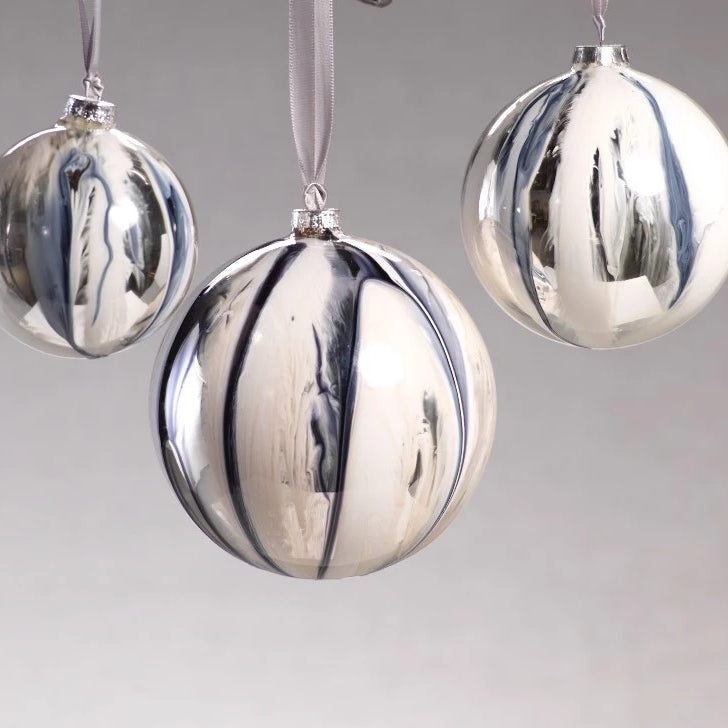 Shiny White/Silver Ball Ornament - CARLYLE AVENUE