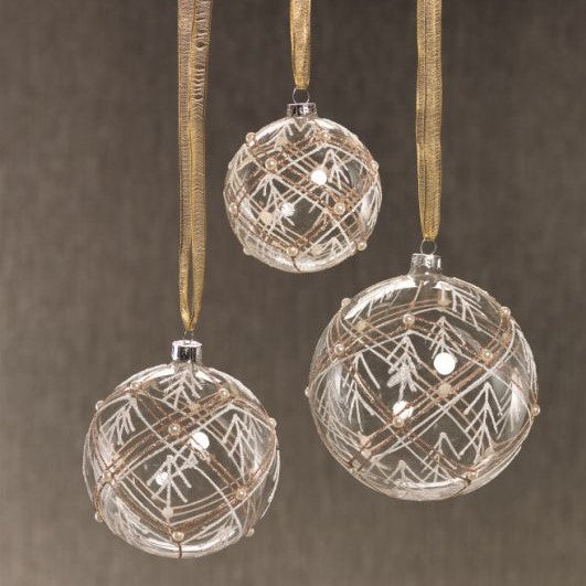 Clear Ball Ornament w/ Glitter - Set of 6 - CARLYLE AVENUE