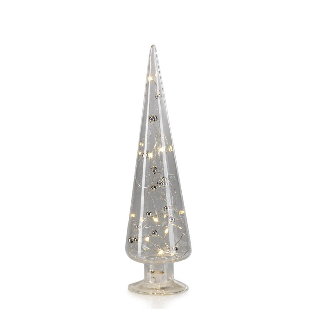 LED Glass Tree w/ Silver Beads