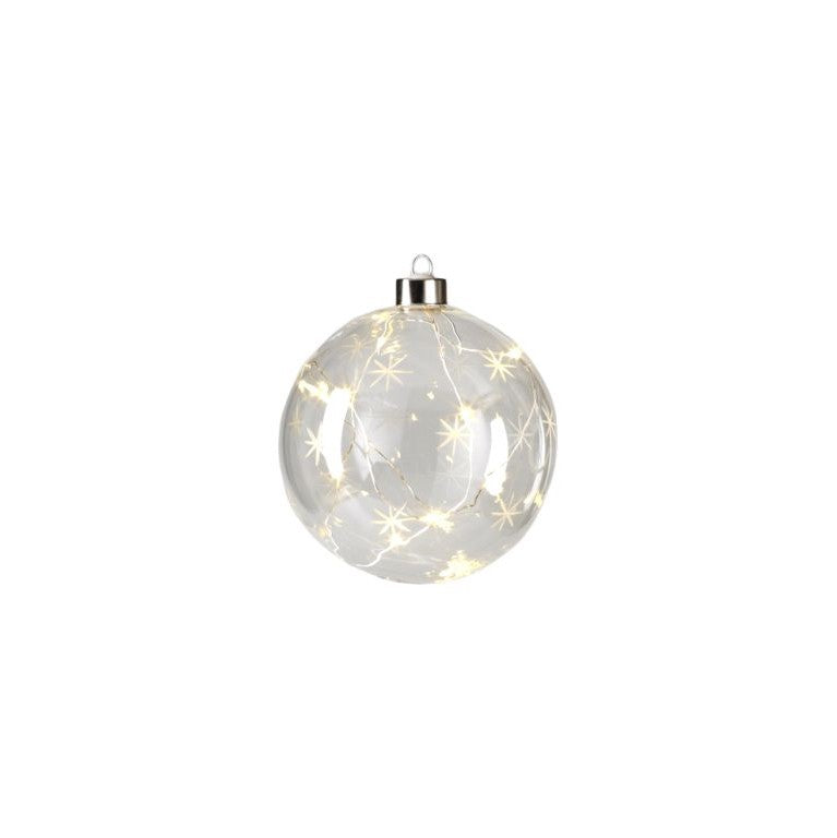 Clear Ball w/ Star Design LED Ornament - CARLYLE AVENUE