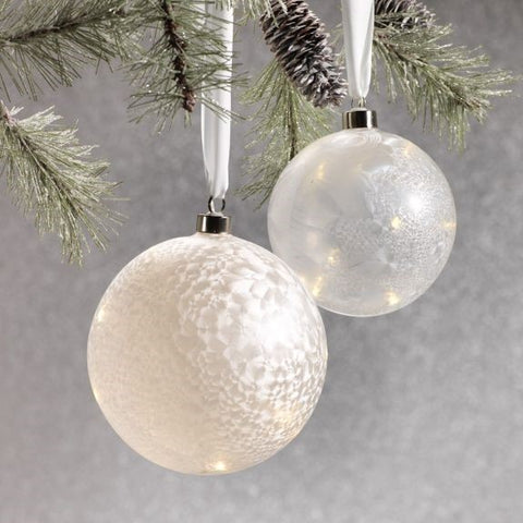 Iced Finish Ball w/ Star Design LED Ornament