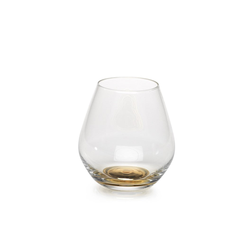 Golden Base Stemless Glass - Set of 4 - CARLYLE AVENUE