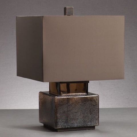 Elm Square Blown Glass and Metal Table Lamp