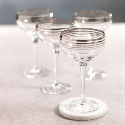 Sardinia Coup Glass - Platinum - Set of 4