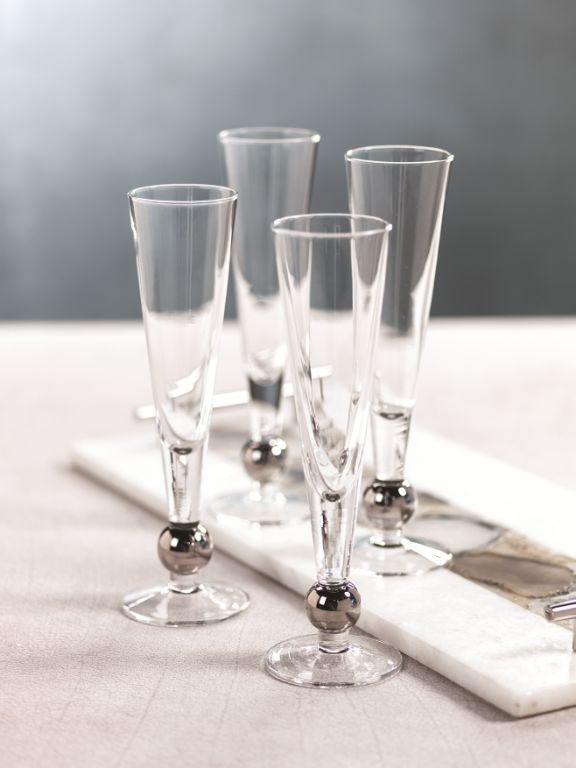 Tivoli Champagne Flute w/ Platinum Ballat Base - Set of 4 - CARLYLE AVENUE