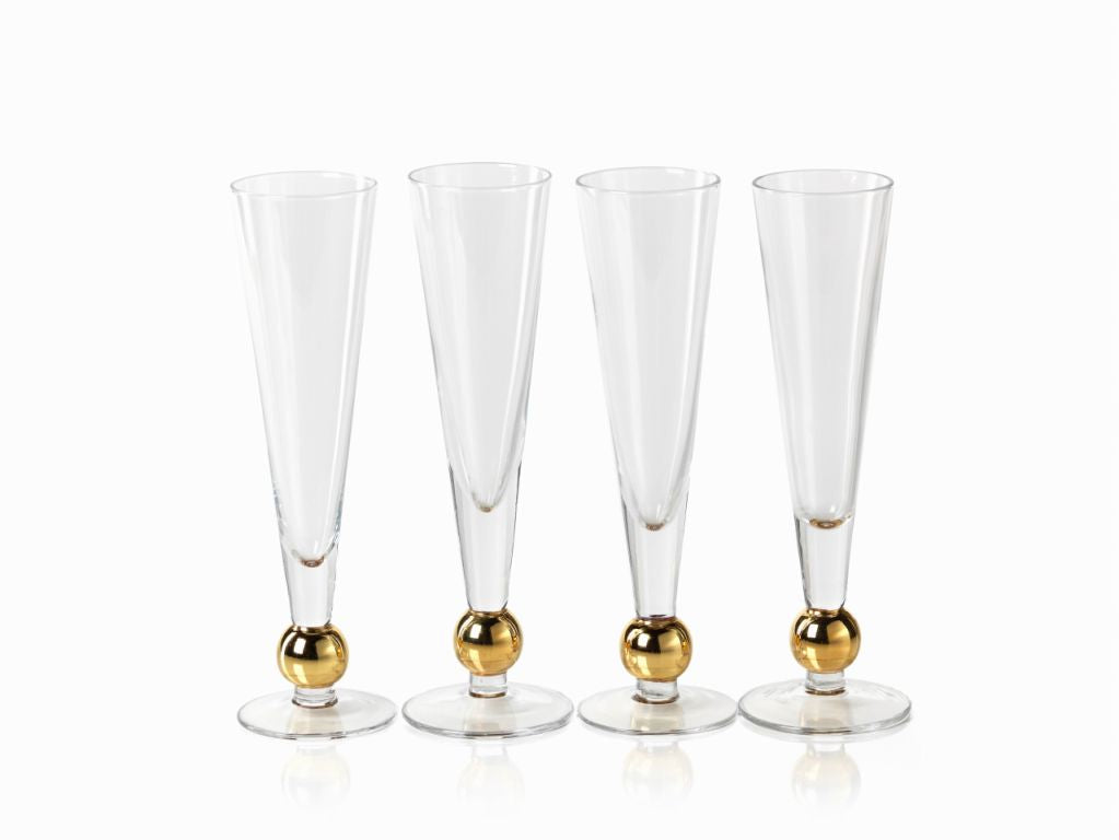 Tivoli Champagne Flute w/ Gold Ballat Base - Set of 4 - CARLYLE AVENUE
