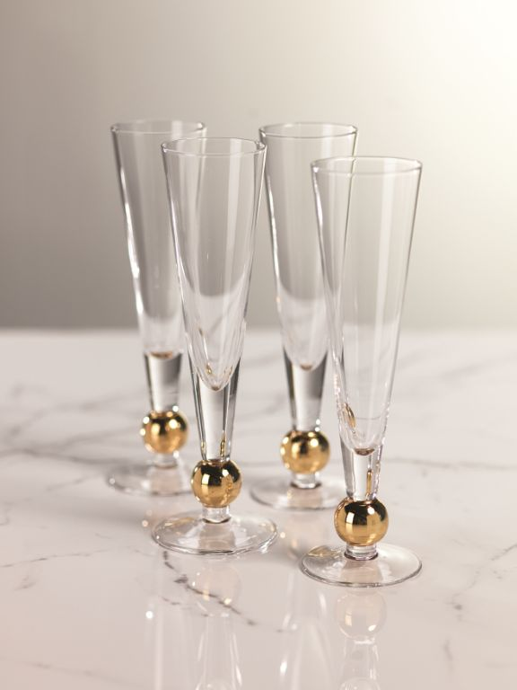 Tivoli Champagne Flute w/ Gold Ballat Base - Set of 4