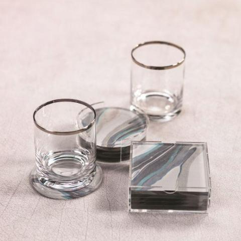 Mod Rock Glass w/ Platinum Rim - Set of 4