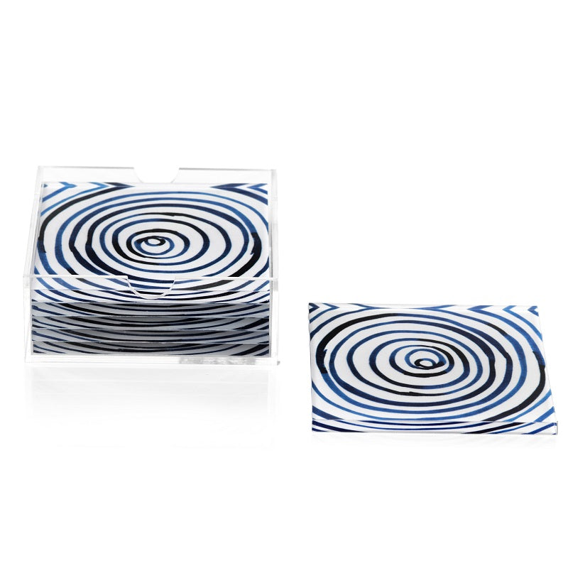 Blue Circle Coasters + Holder - CARLYLE AVENUE