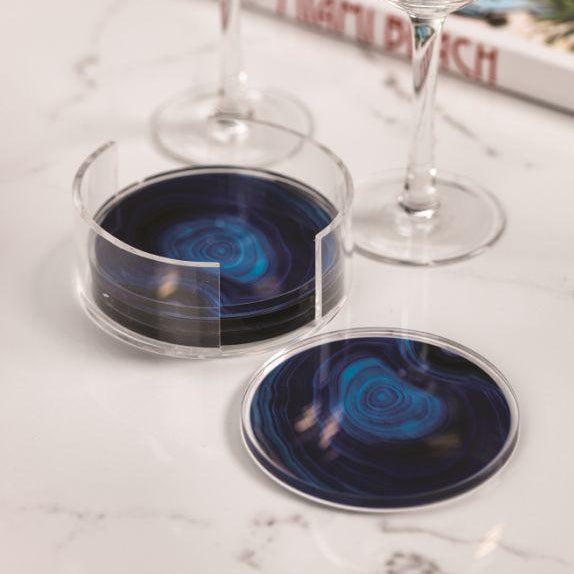 Deep Blue Agate Coasters + Holder - CARLYLE AVENUE