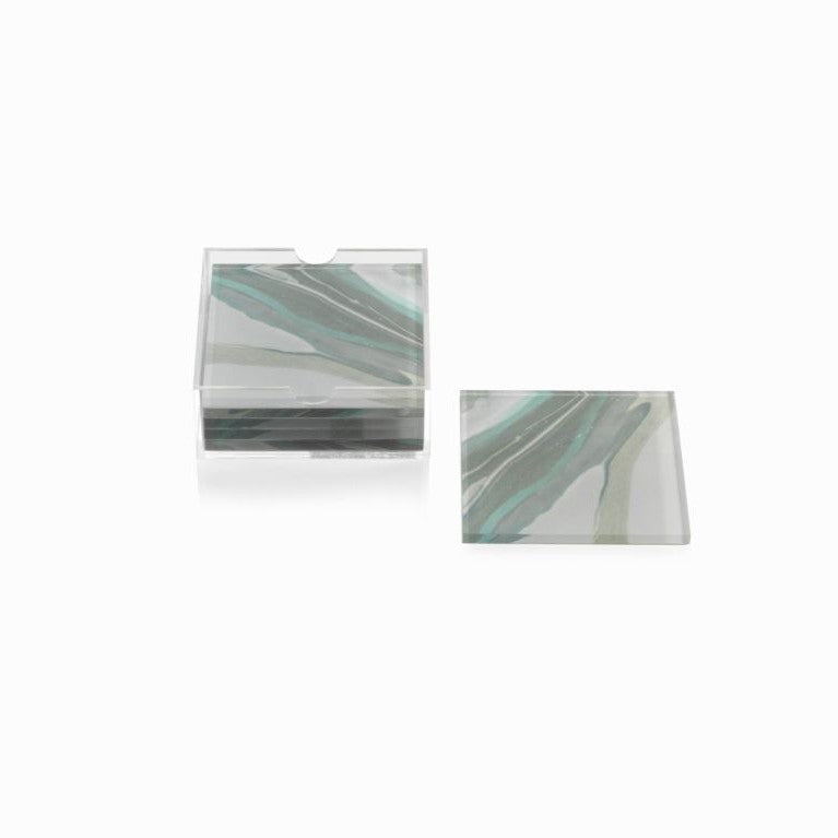 Aqua Lagoon Agate Coasters + Holder - CARLYLE AVENUE