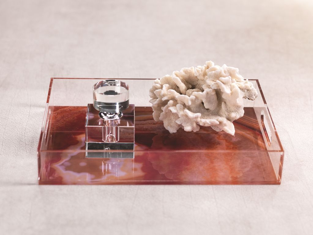 Orange Agate Rectangular Tray