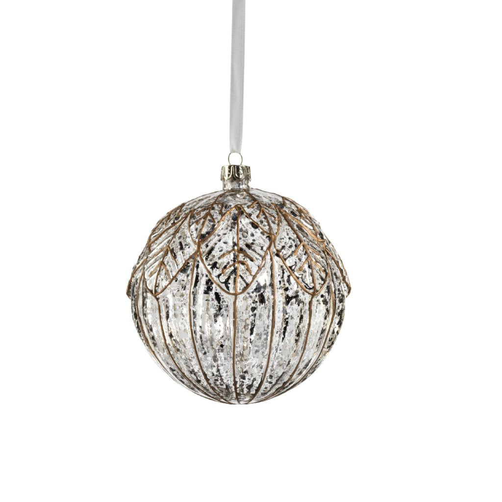 Antique Silver Leaf Ball Ornament - CARLYLE AVENUE