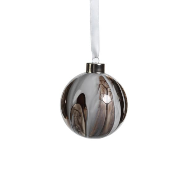 Shiny White/Gray Ball Ornament