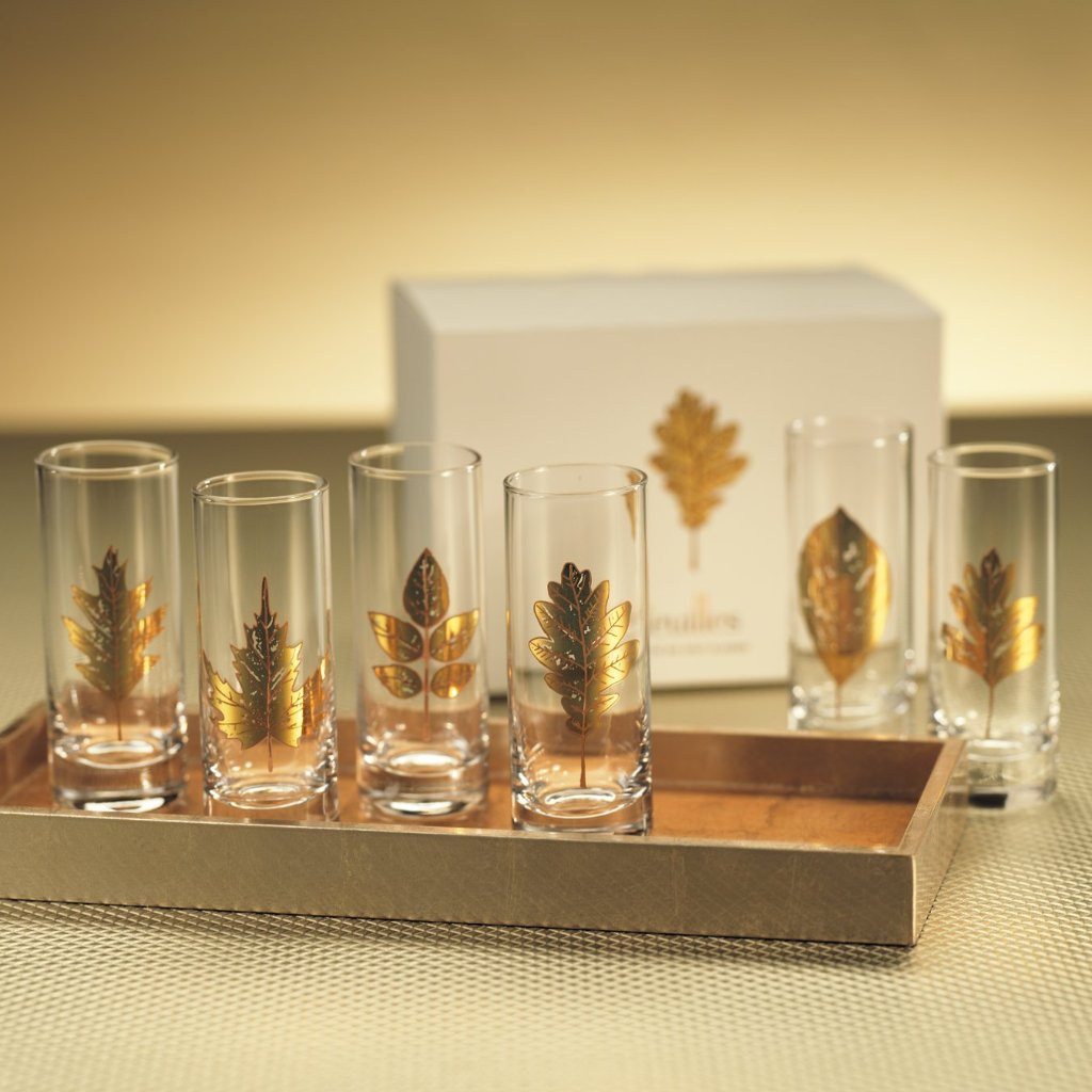 Set of 6 Feuilles Shot Glasses - CARLYLE AVENUE