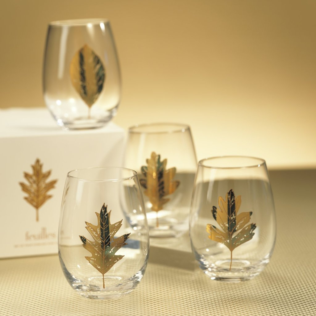 Set of 4 Feuilles Stemless Wine Glass - CARLYLE AVENUE
