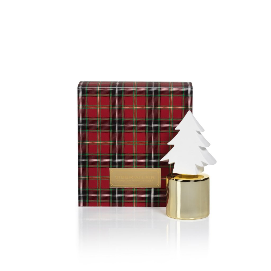 Siberian Fir Tree Porcelain Diffuser - Gold - CARLYLE AVENUE