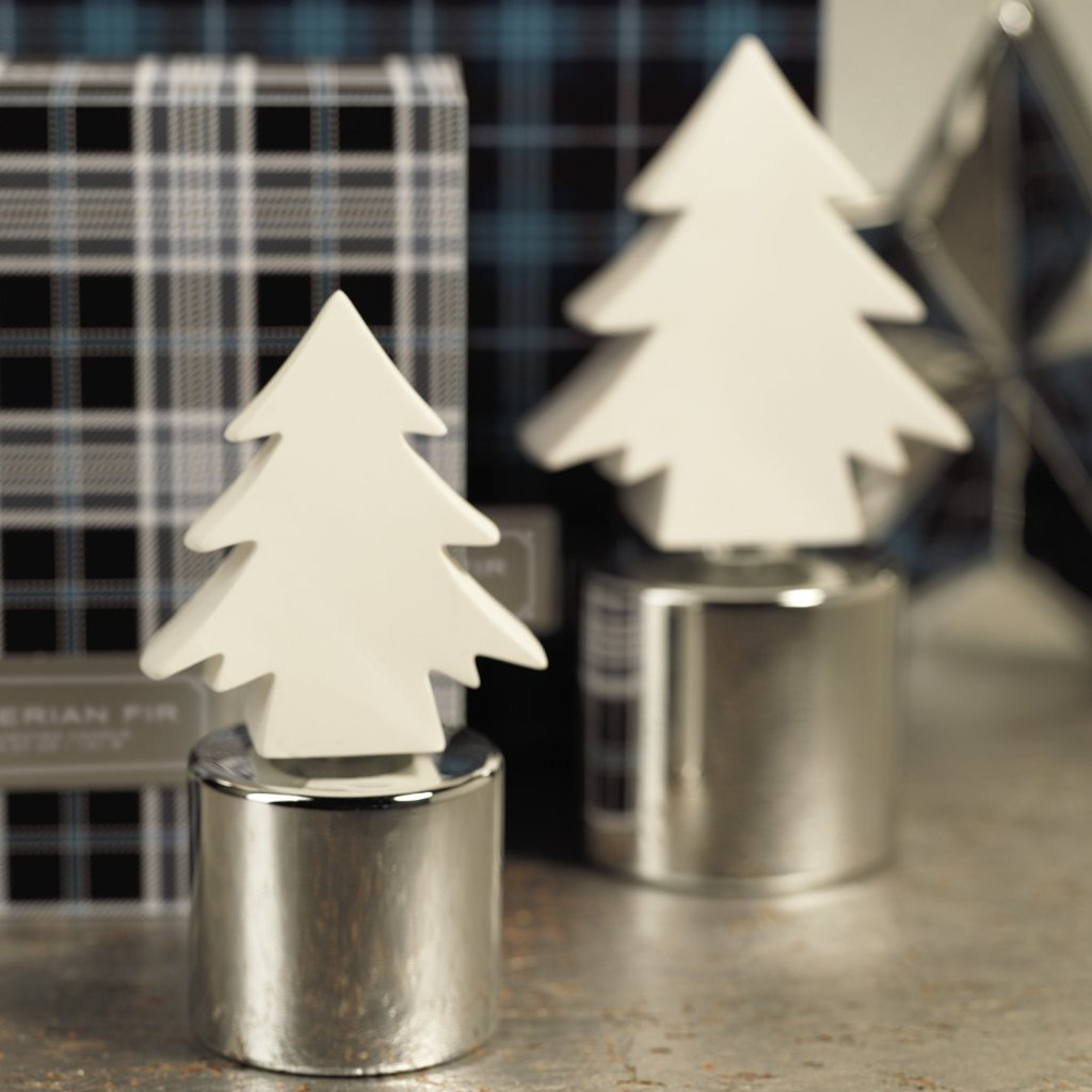 Siberian Fir Tree Porcelain Diffuser - Silver - CARLYLE AVENUE