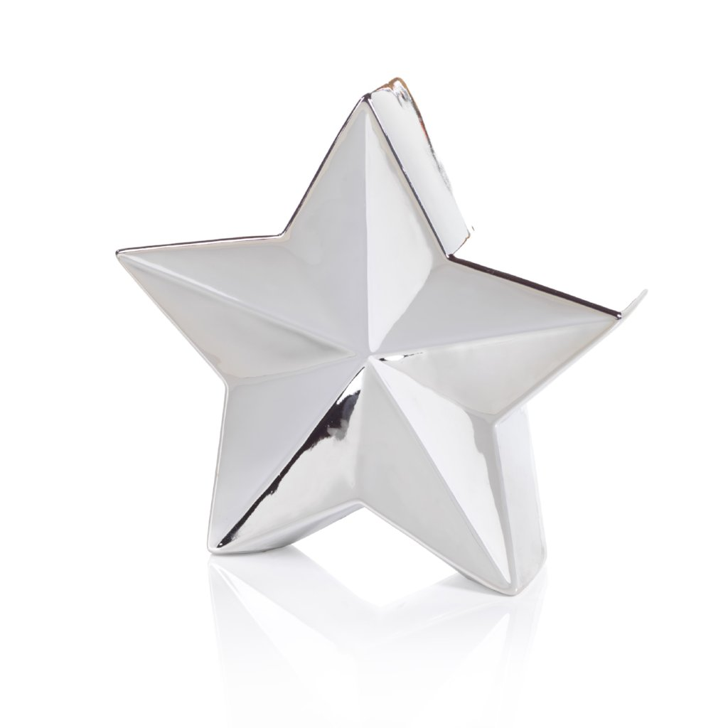 5 Point Metallic Silver Star Decor - CARLYLE AVENUE