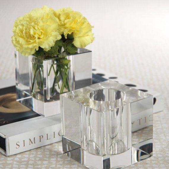 Nour Clear Crystal Cube Vase