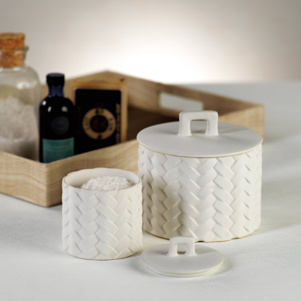 Woven Ceramic Canister - White