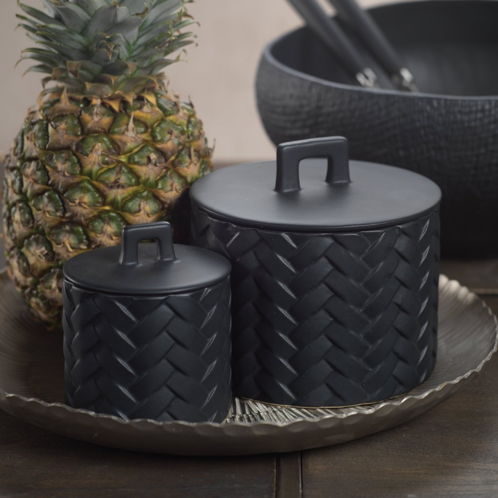 Woven Ceramic Canister - Black - CARLYLE AVENUE