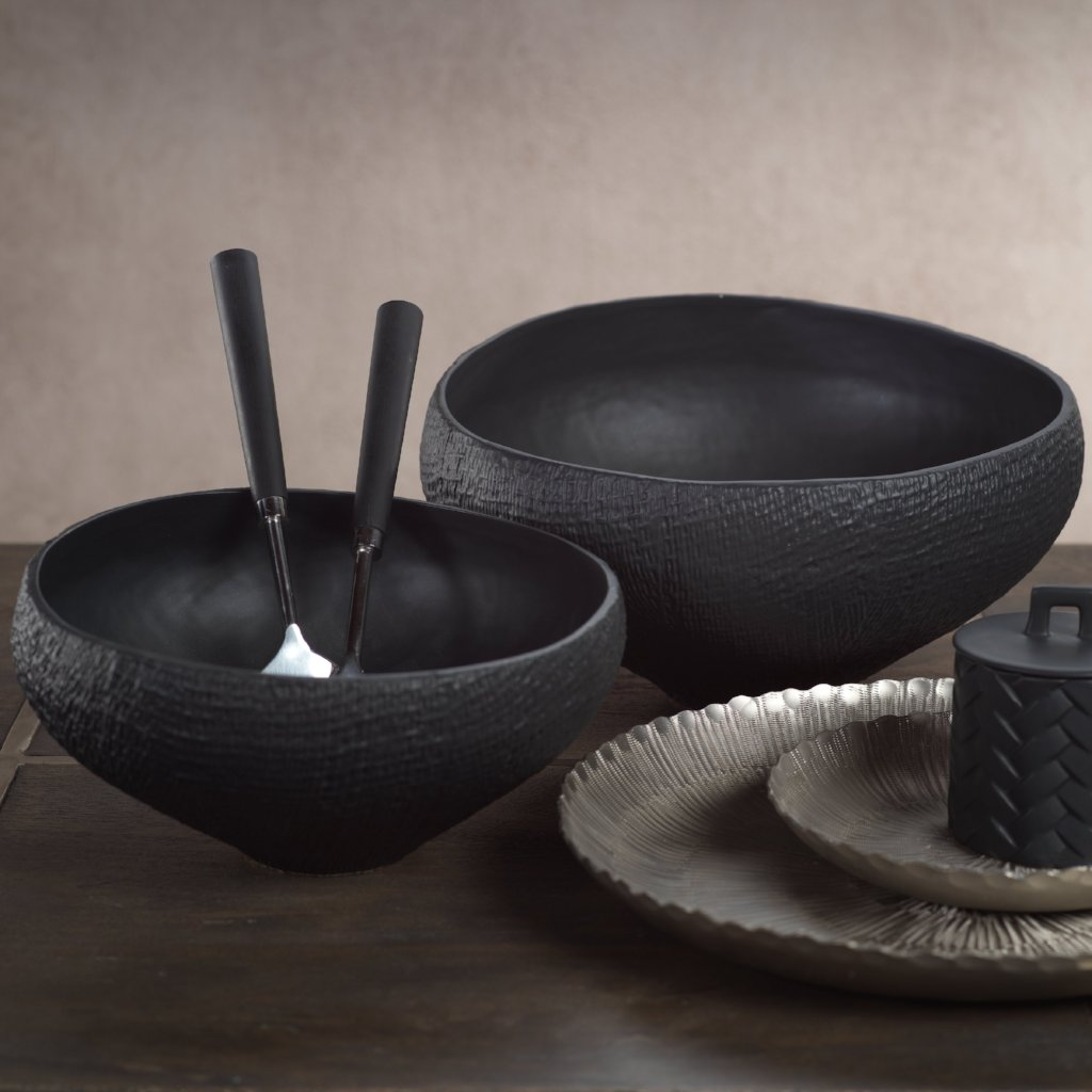 Mara Sand Organic Ceramic Tall Bowl - Black