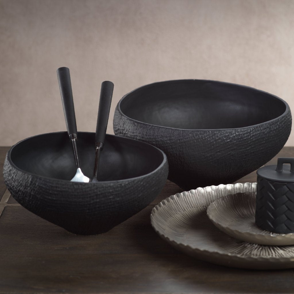 Mara Sand Organic Ceramic Tall Bowl - Black - CARLYLE AVENUE