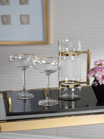 Martini Glass/Serving Bowl with Gold Rim - s/4