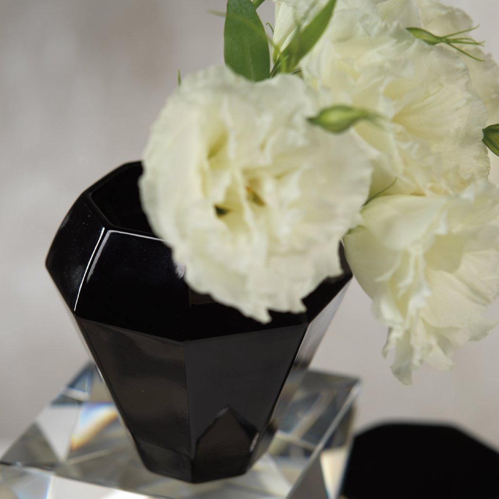 Celia Black Glass Vase - CARLYLE AVENUE