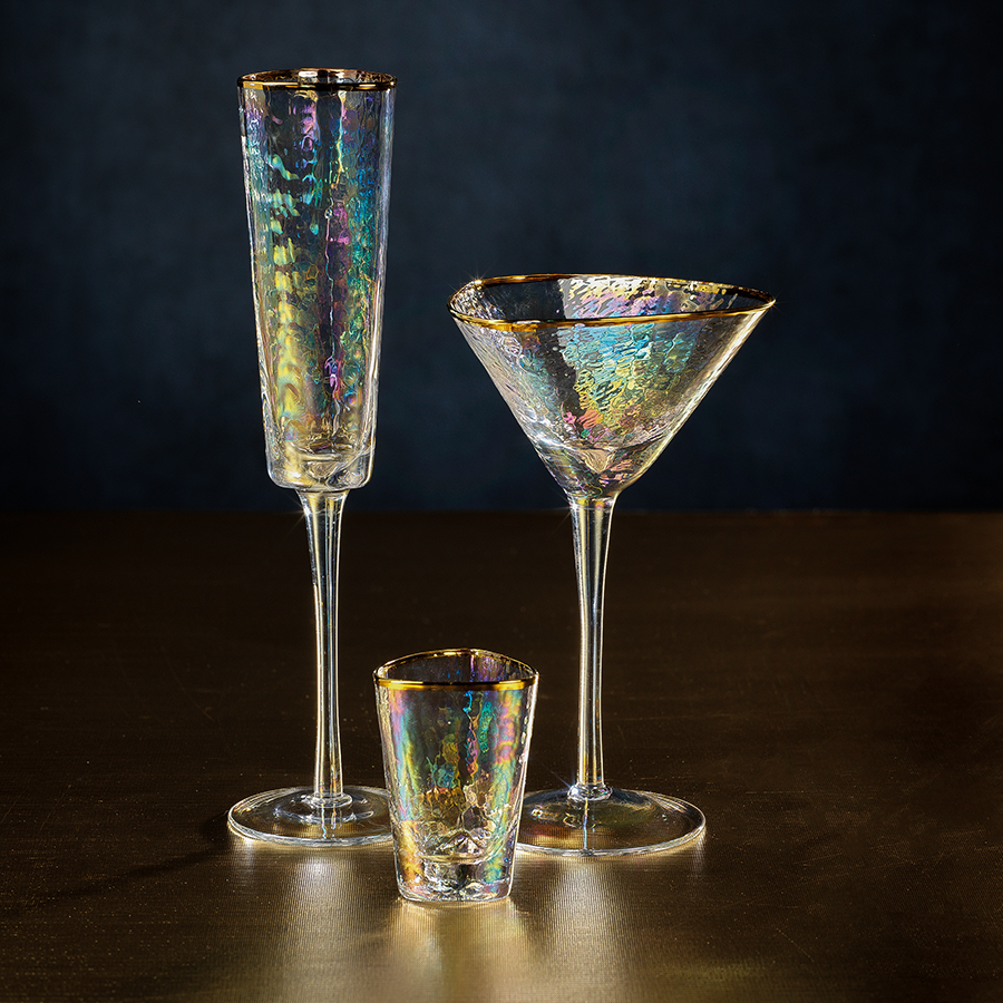 Apertivo Triangular Stemware - Luster with Gold Rim