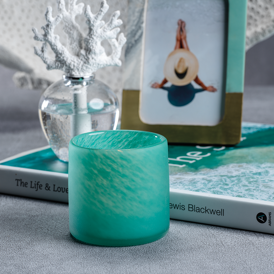 Frosted Powder Glass Vase - Candle Holder / Aqua