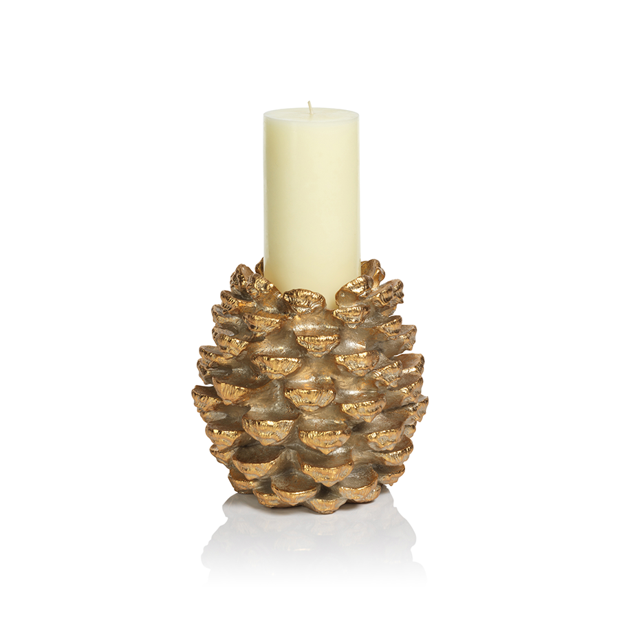 Golden Pinecone Pillar Holder