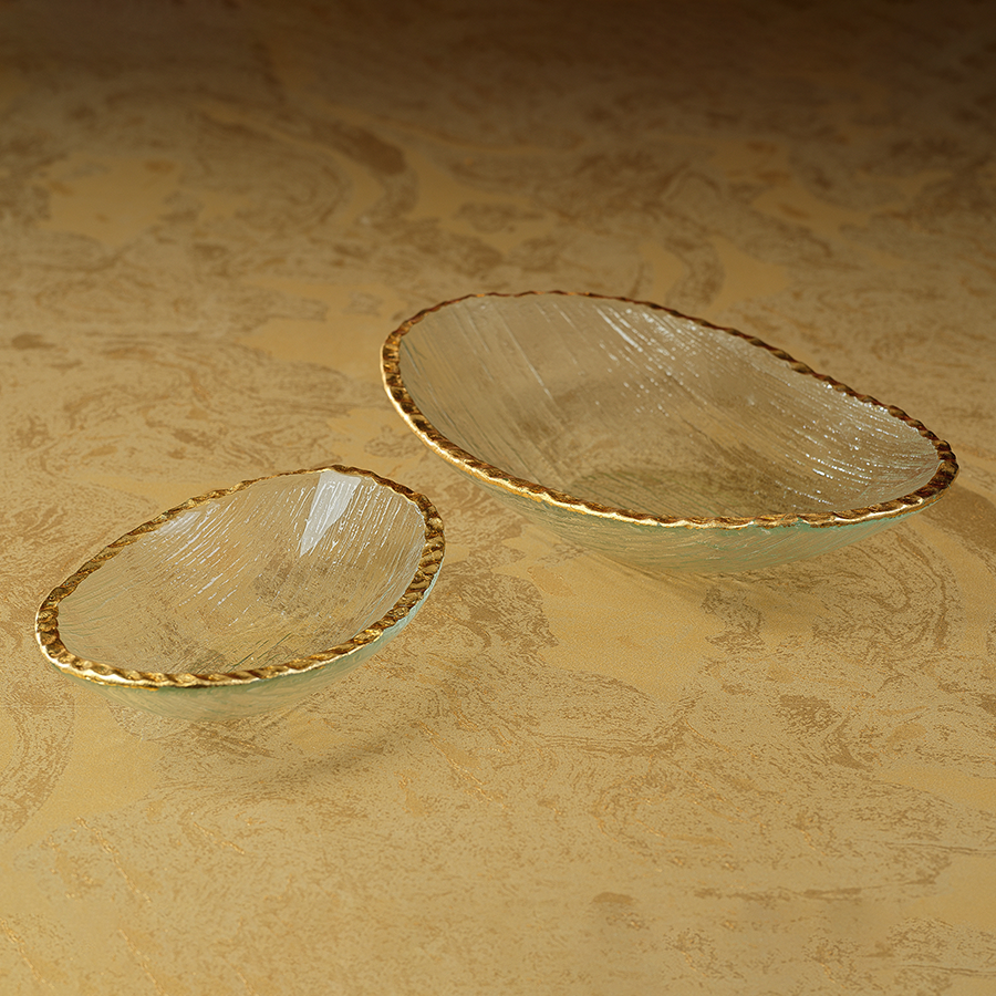 Clear Textured Bowl w/Jagged Gold Rim