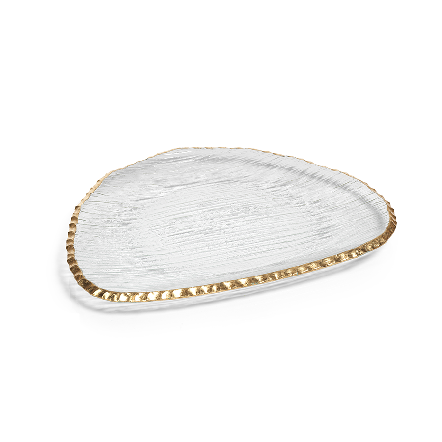 Clear Textured Organic Shape Plate w/Jagged Gold Rim