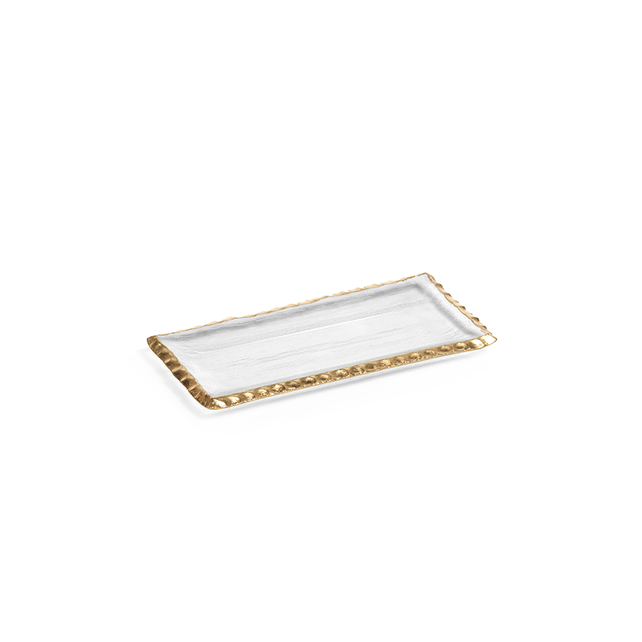 Clear Textured Rectangular Tray w/Jagged Gold Rim