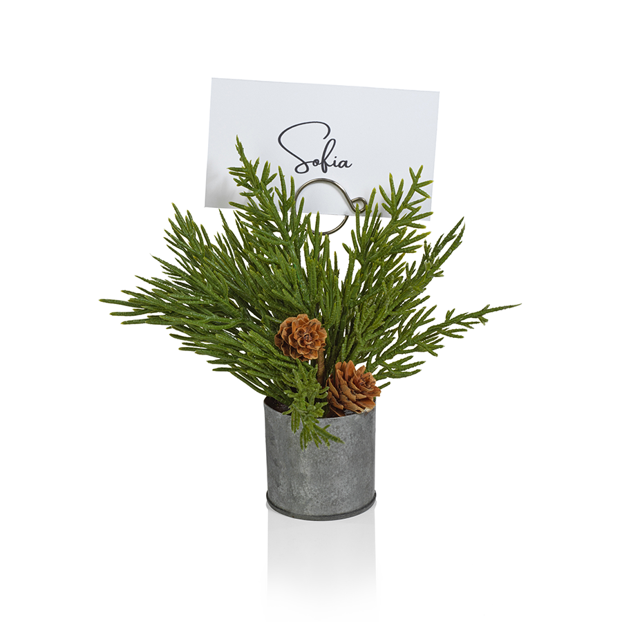 Pine in Galvanized Bucket Place Card Holder