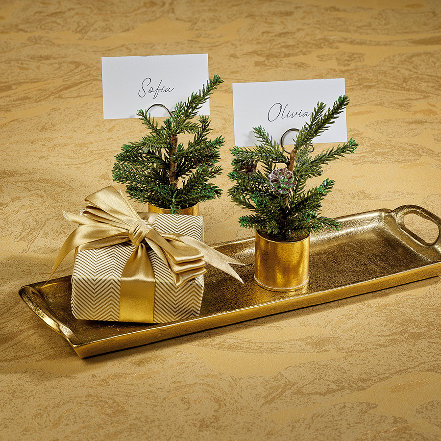 Pine in Gold Bucket Place Card Holder