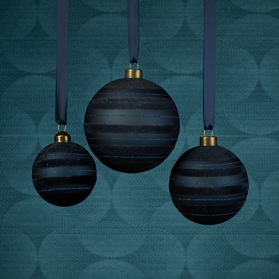 Blue Flocked Striped Ornament