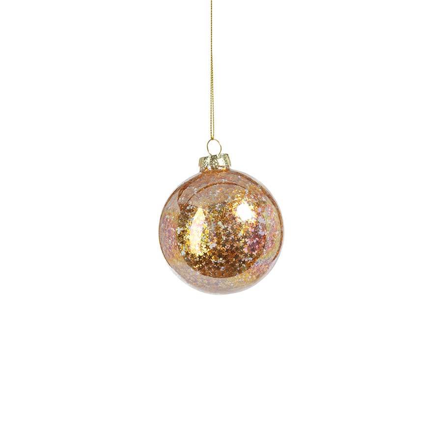 Sequin Glass Ornament - Golden