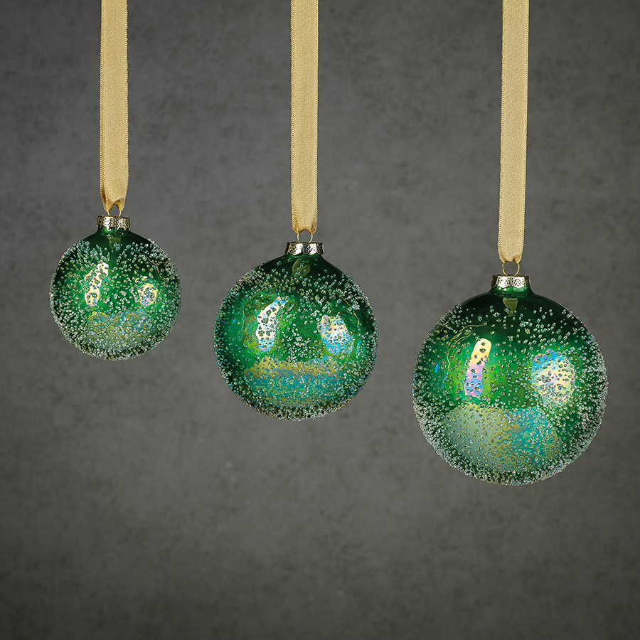 Sugared Green Glass Ornament