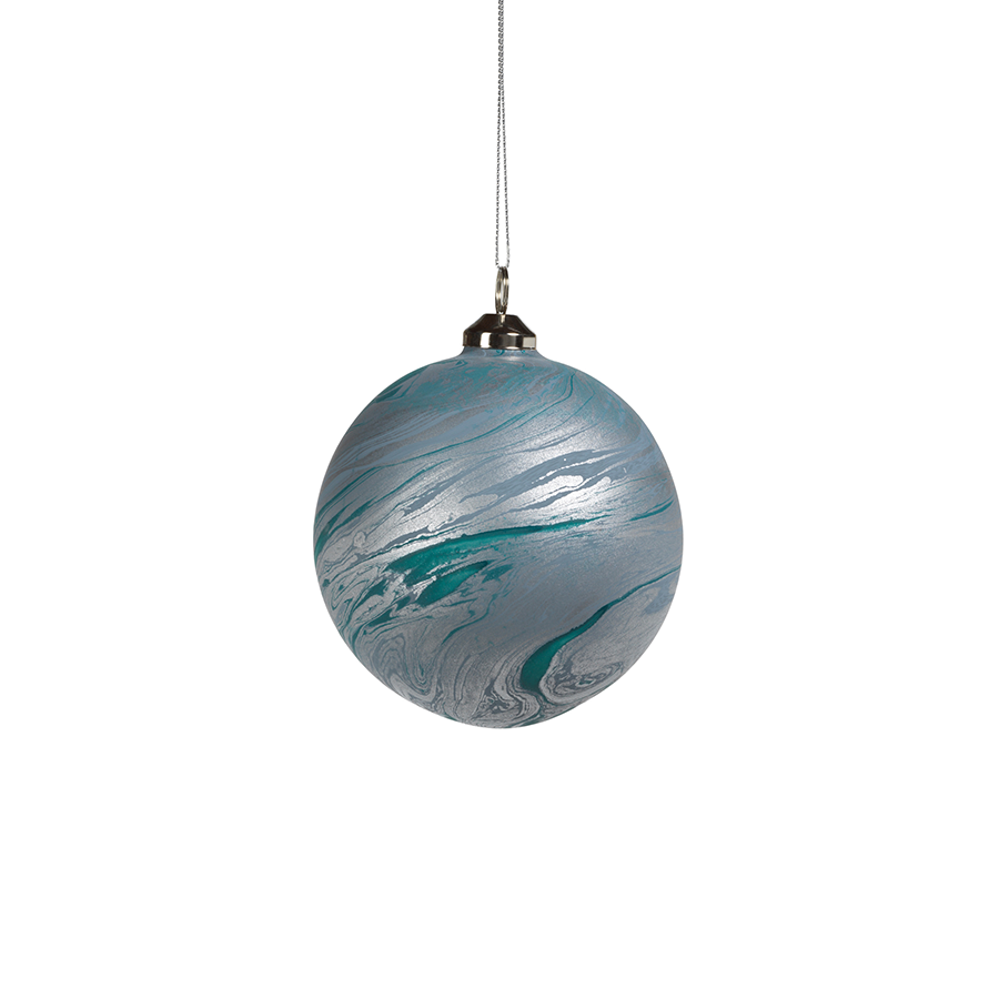 Watercolor Glass Ornament - Matte Blue