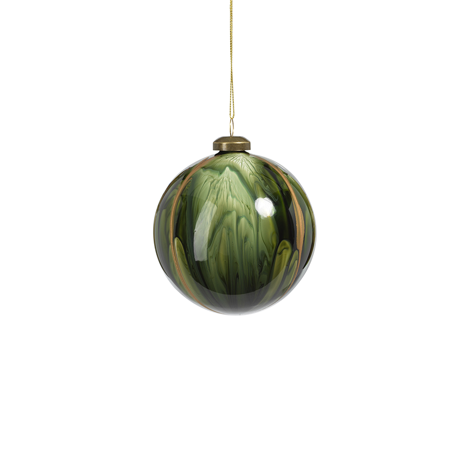 Watercolor Glass Ornament - Shiny Green