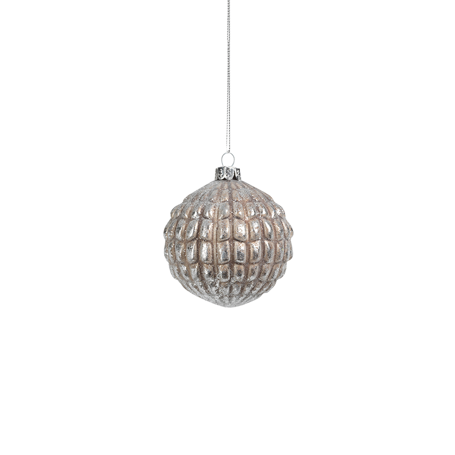 Silver & Grey Glass Ball Ornament