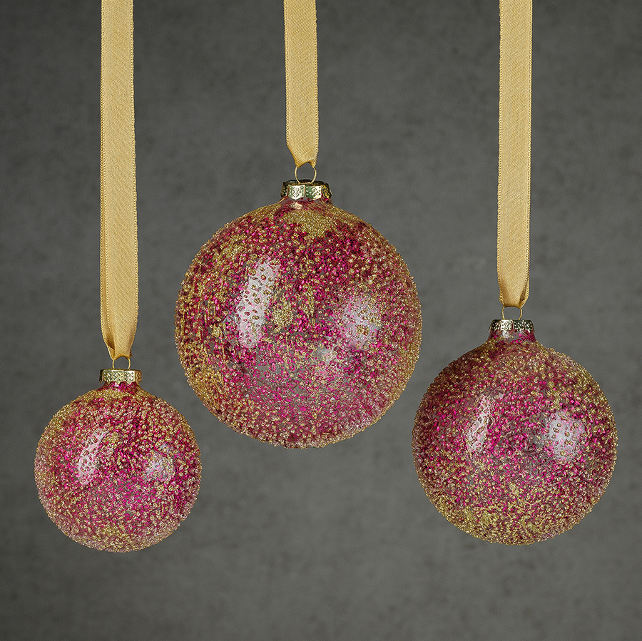Glitter Glass Ball Ornament - Fuschia & Gold