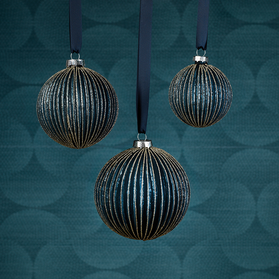 Blue Glass Ball Ornament with Glitter