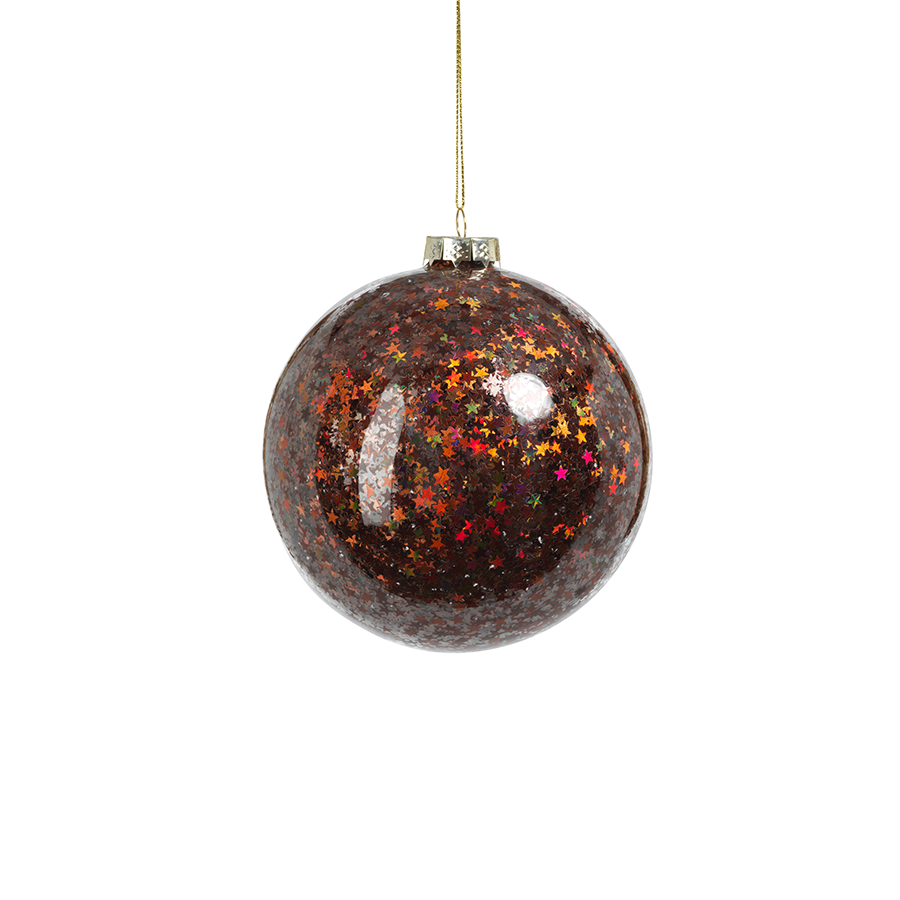 Sequin Glass Ornament - Burgundy
