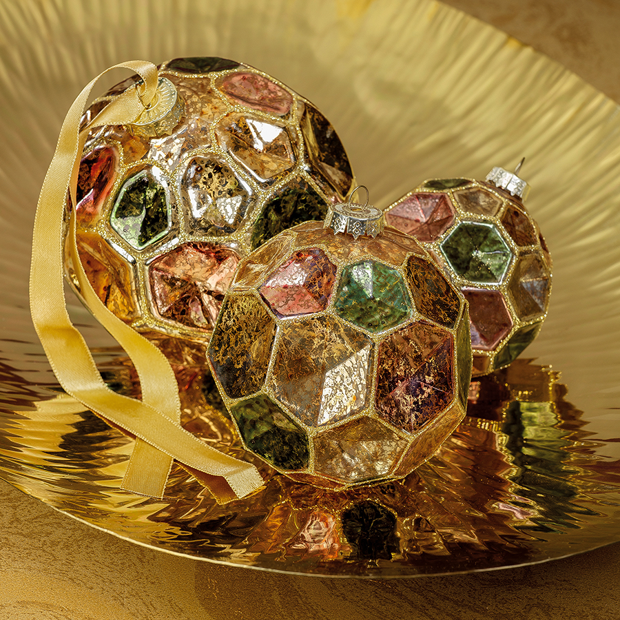 Dimpled Multicolored Ball Ornament - Gold w/Autumn Jewel Tones