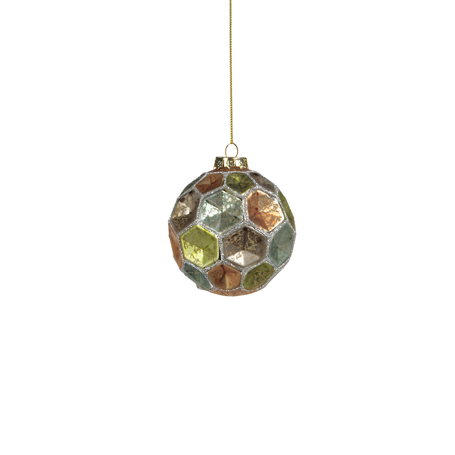 Dimpled Multicolored Ball Ornament - Silver w/Pastel Tones