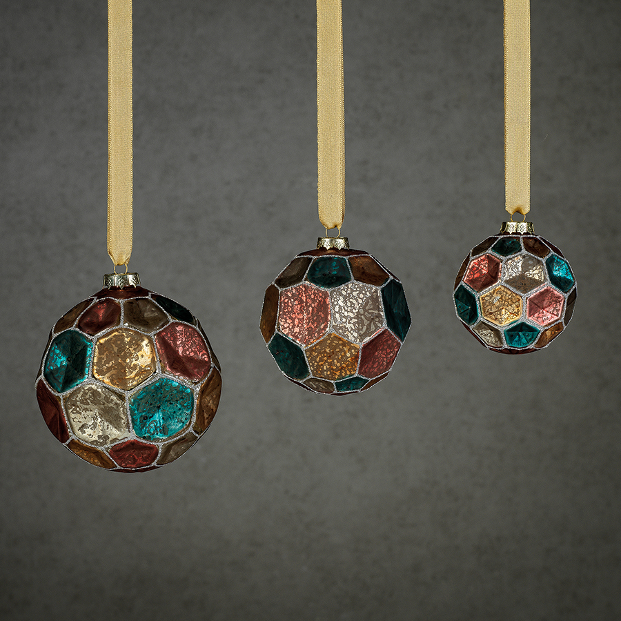 Dimpled Multicolored Ball Ornament - Silver w/Summer Jewel Tones